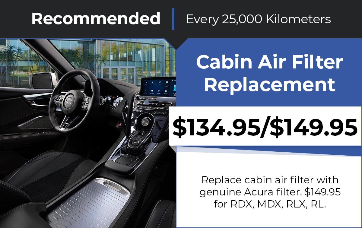 Acura Cabin Air Filter Replacement Service Special Coupon