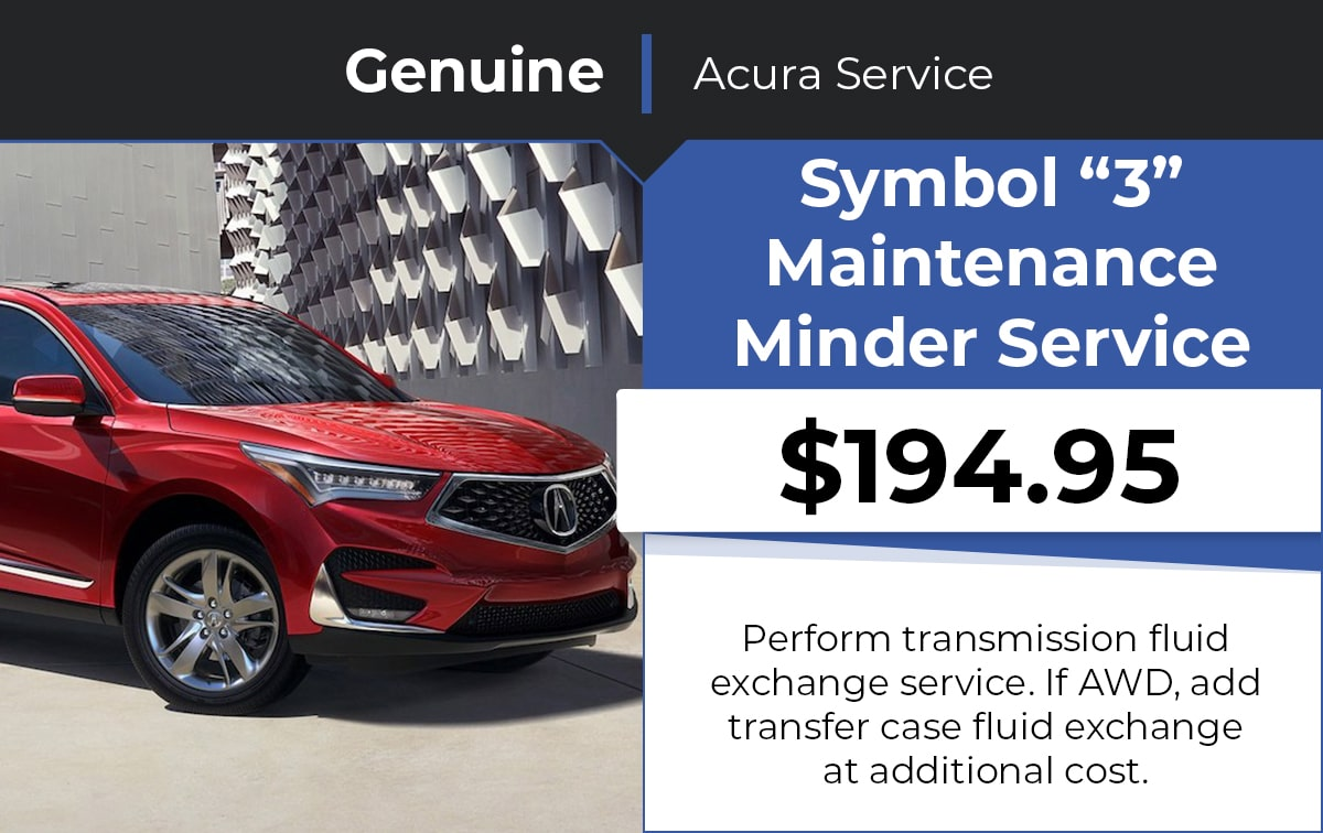 Acura Symbol 3 Maintenance Minder Service Special Coupon