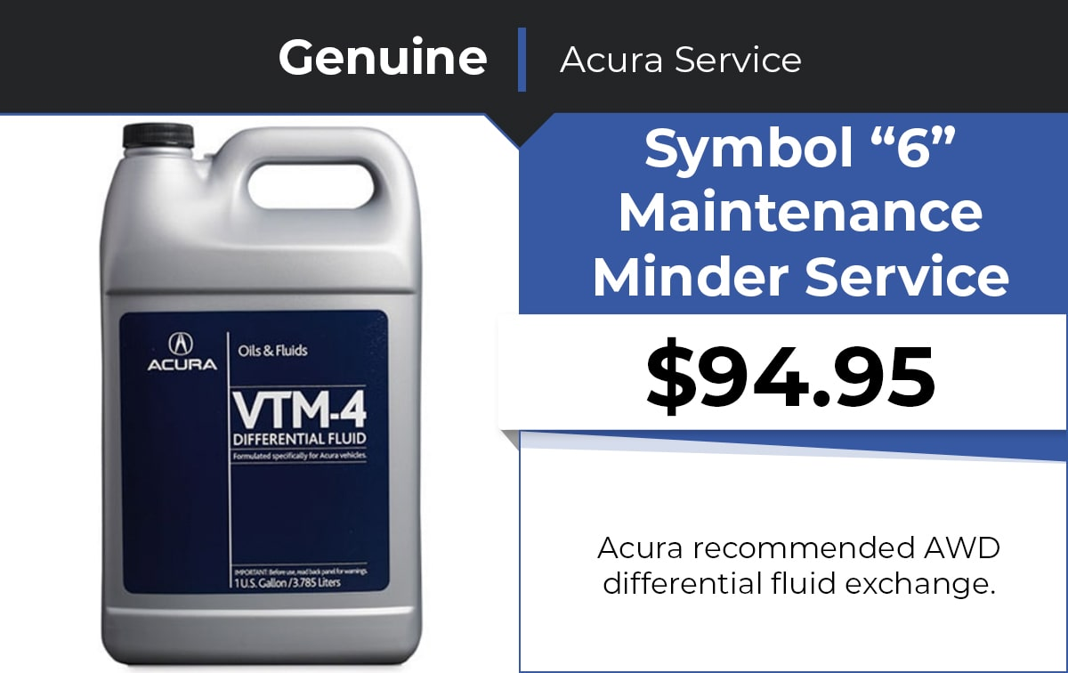Acura Symbol 6 Maintenance Minder Service Special Coupon