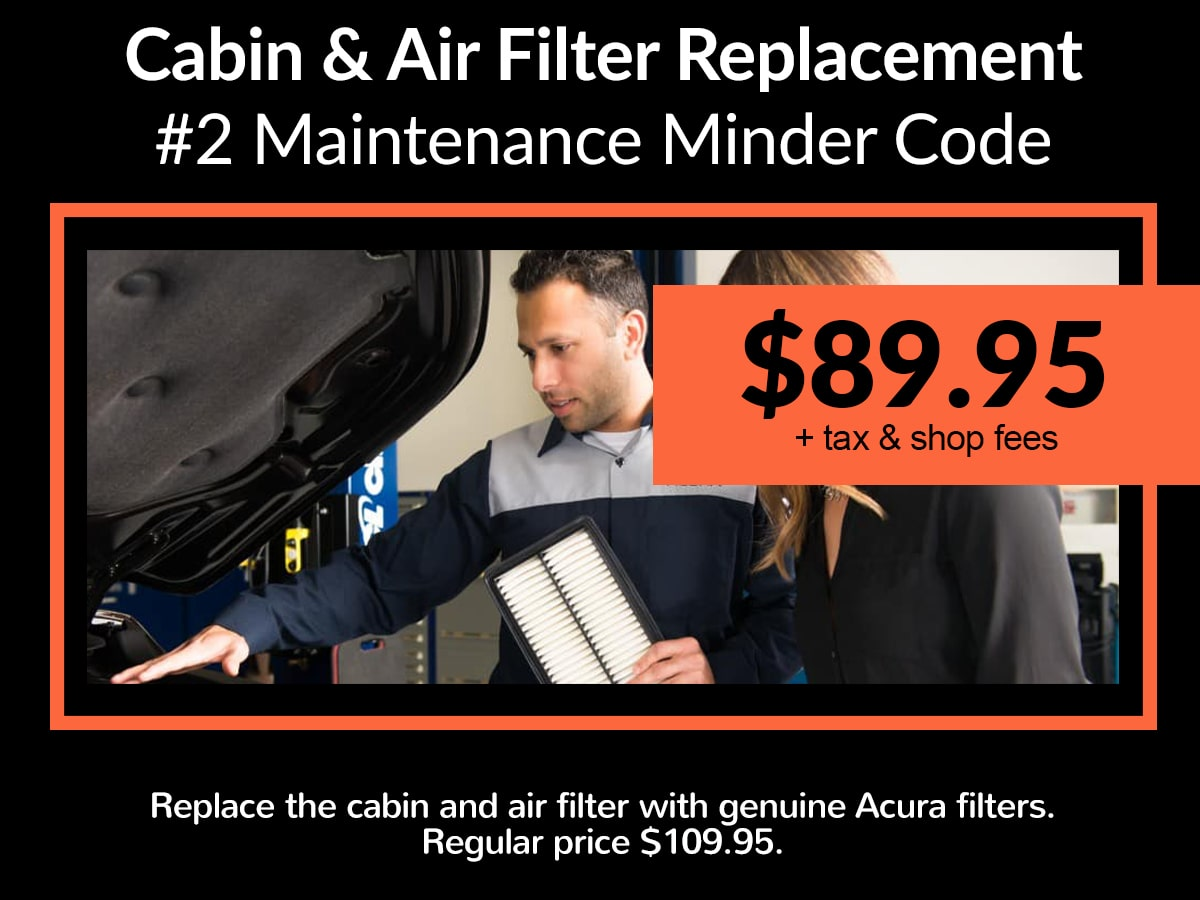 Acura Cabin & Air Filter Replacement Service Special Coupon