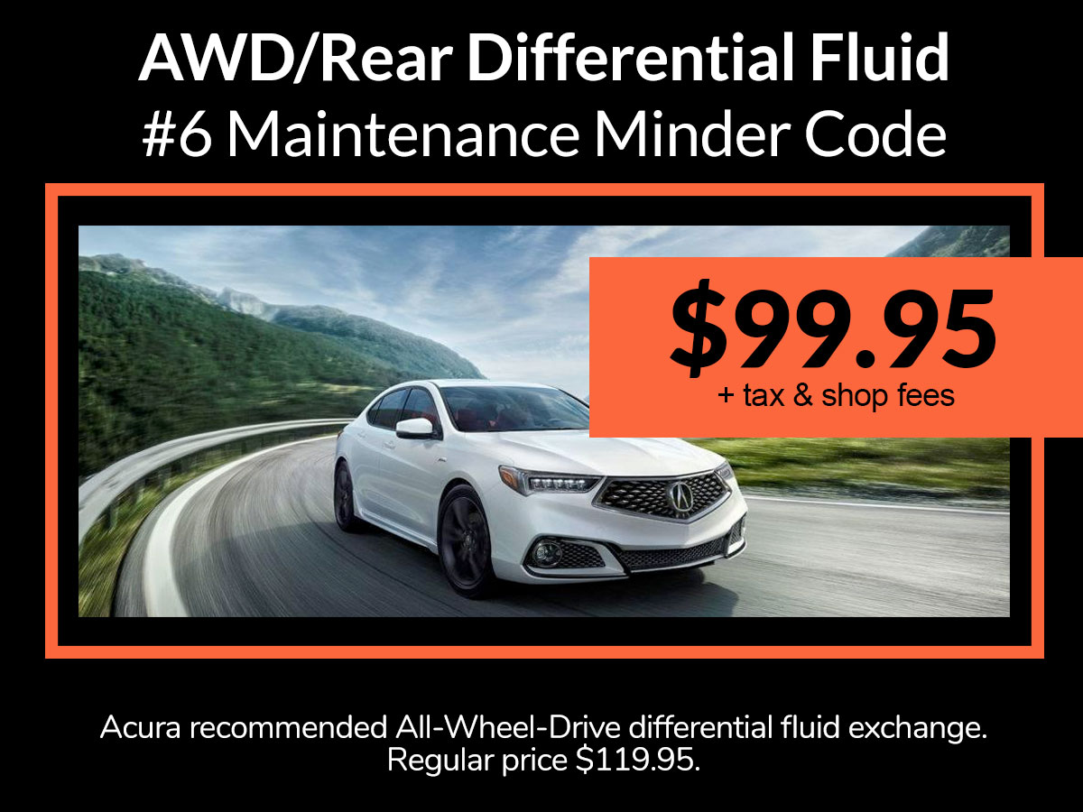 Acura AWD Differential Fluid Exchange Service Special Coupon