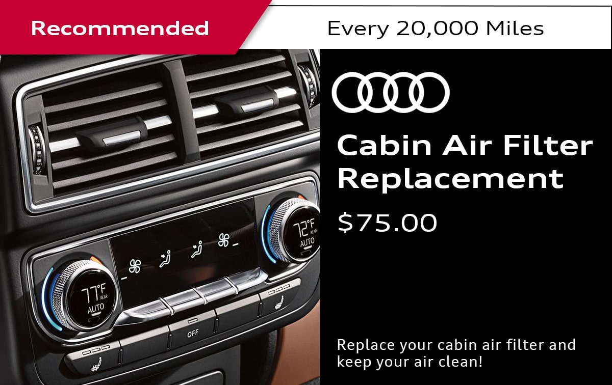 Audi Cabin Air Filter Replacement Service Special Coupon
