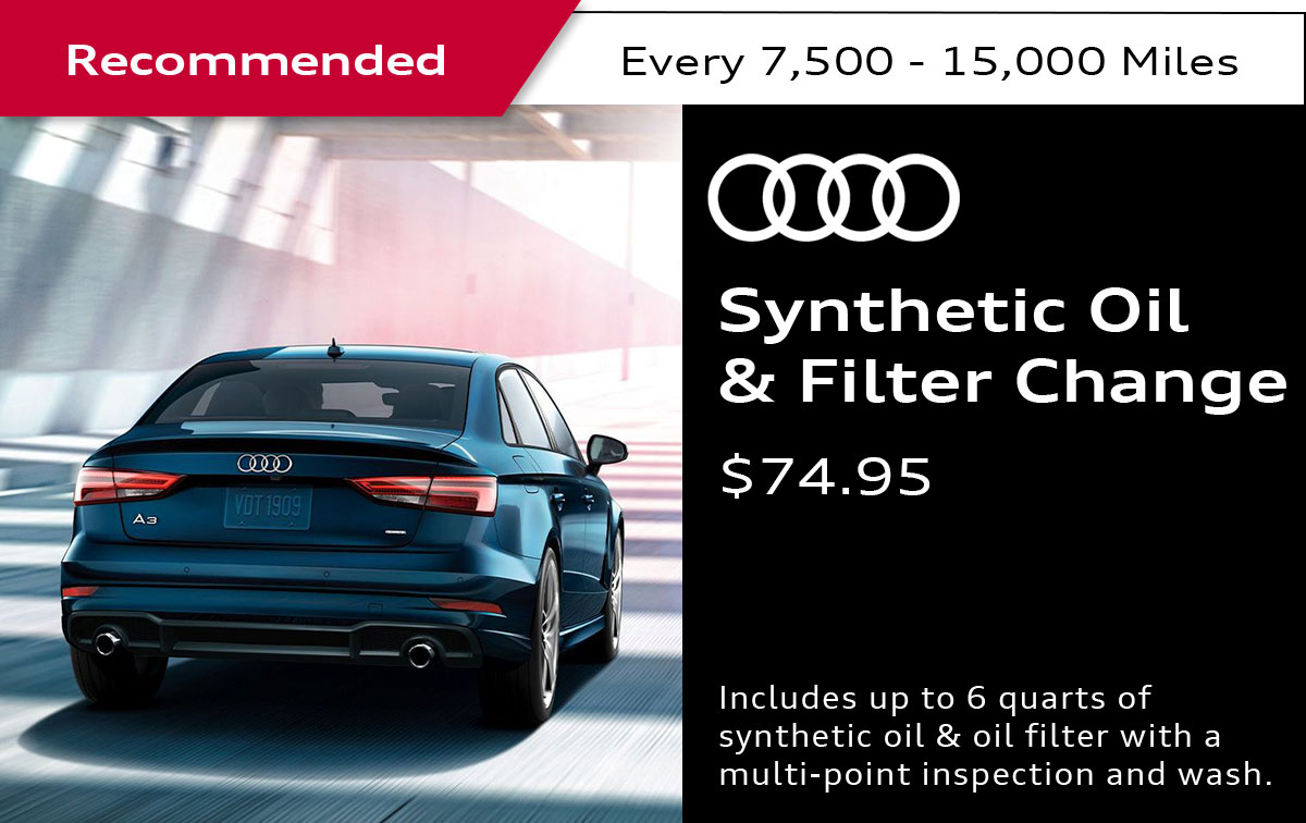 Audi Full Synthetic Oil & Filter Change Service Special Coupon
