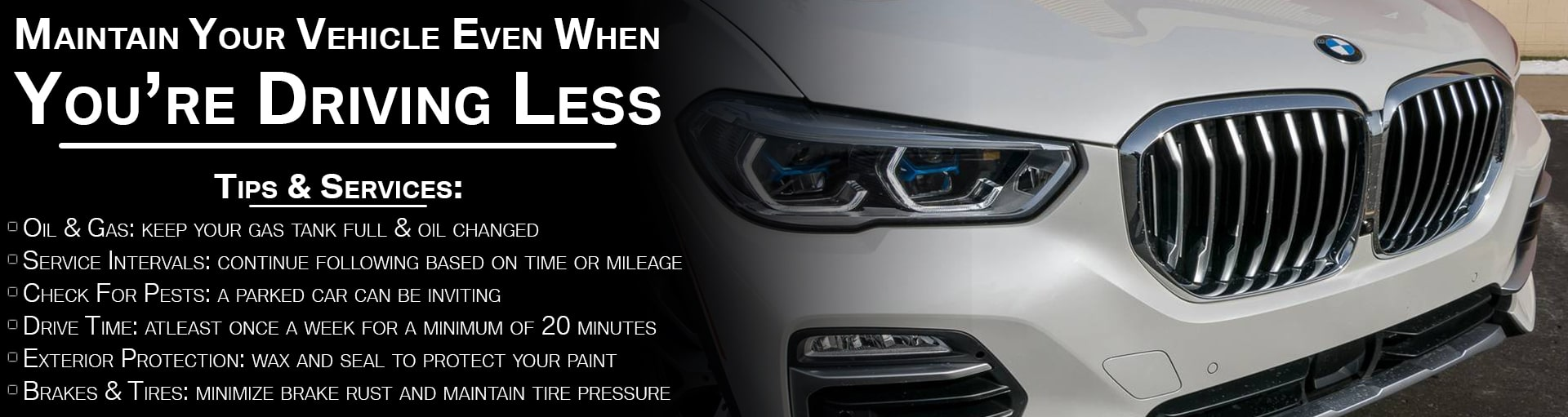 BMW Driving Less Maintenance Banner