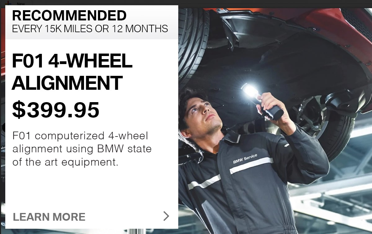 BMW F01 4-Wheel Alignment Service Special Coupon