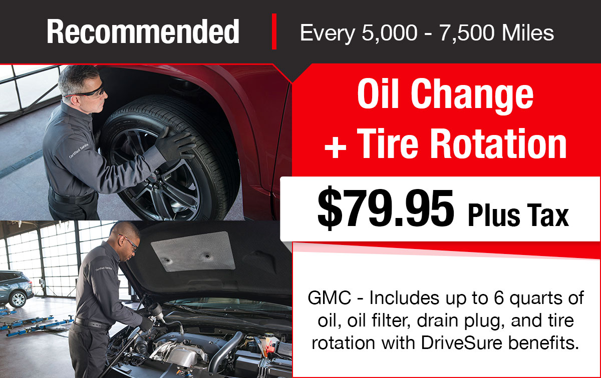 Buick GMC Oil Change + Tire Rotation Service Special Coupon