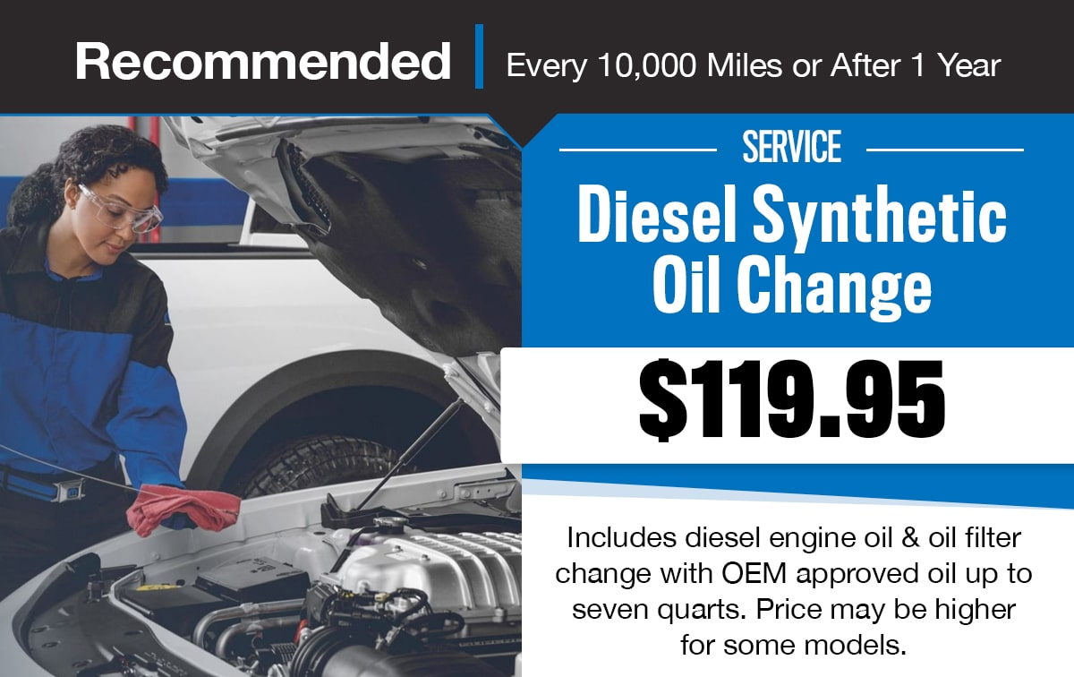 CDJR Diesel Synthetic Oil Change Service Special Coupon