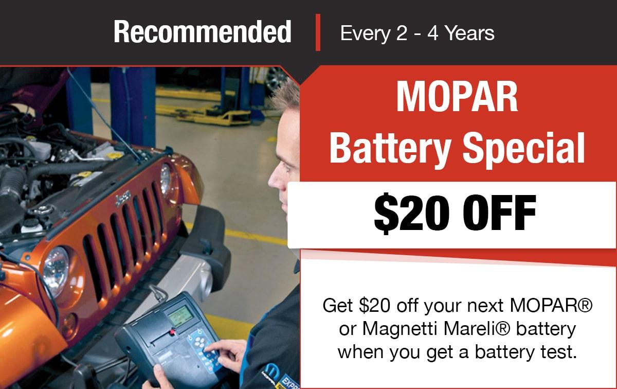 Mopar/Magnetti Mareli Battery Service Special Coupon