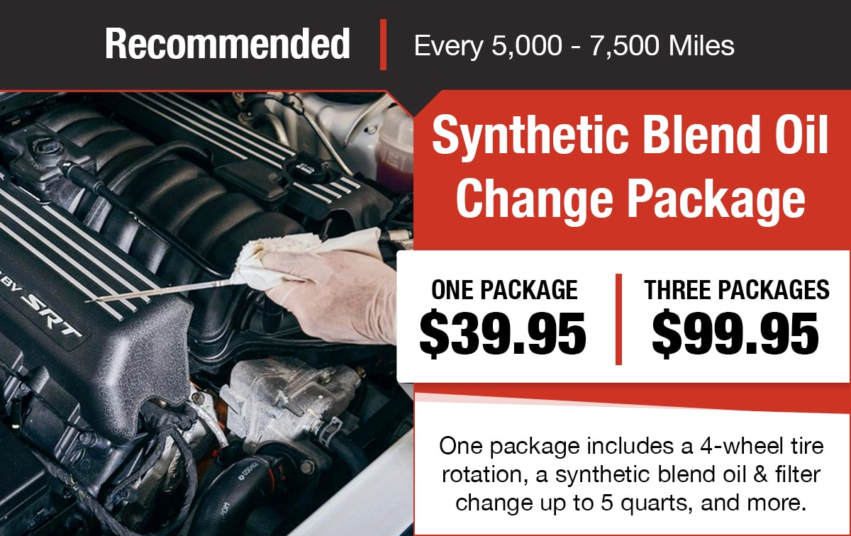 Synthetic Blend Oil Change Package Service Special Coupon