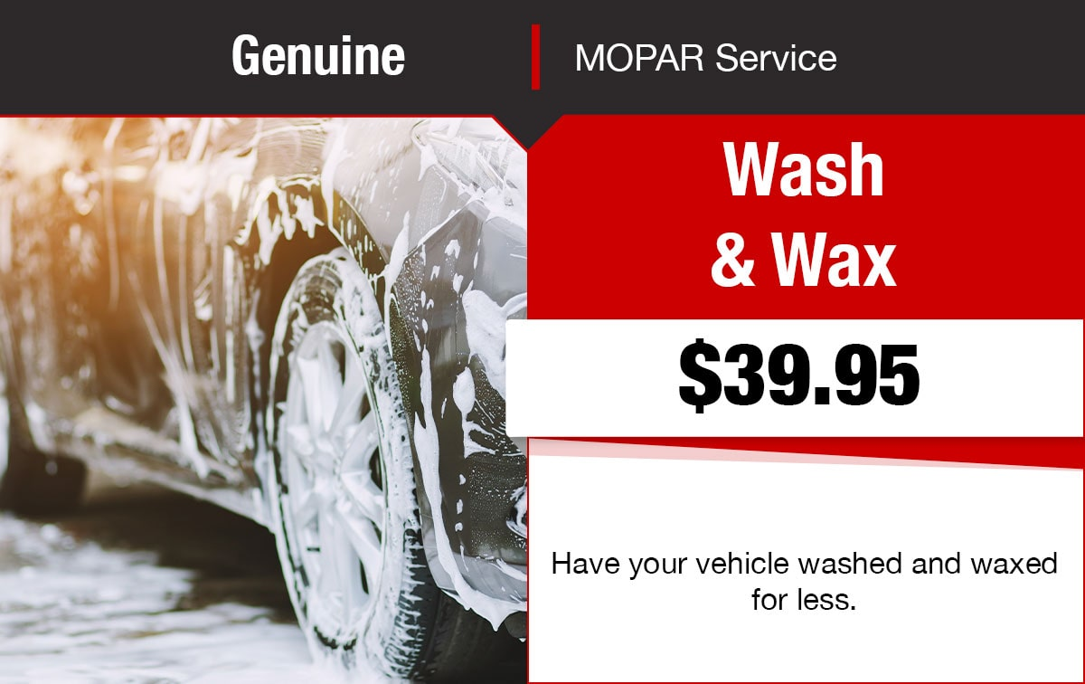 Chrysler Dodge Jeep Ram Wash & Wax Service Special Coupon