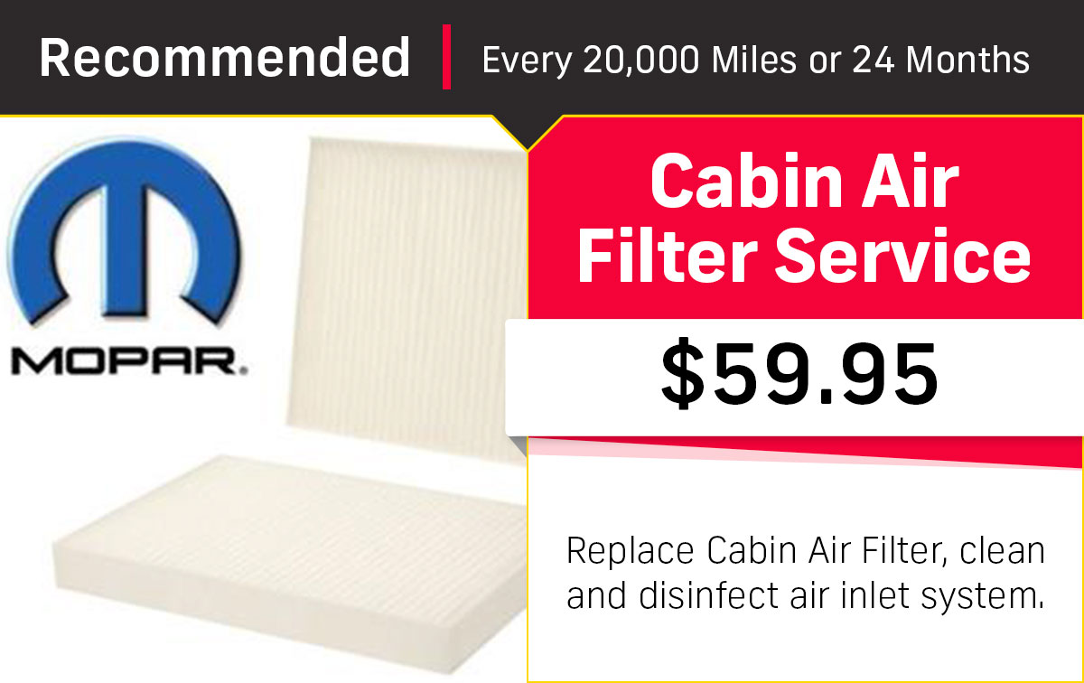 CDJR Cabin Air Filter Service Special Coupon