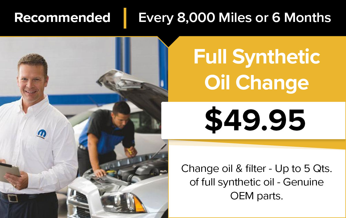 Milwaukee Chrysler Dodge Jeep Ram Full Synthetic Oil Change Service