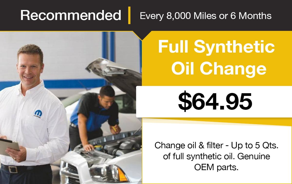 Mopar Full Synthetic Oil Change Service Special Coupon