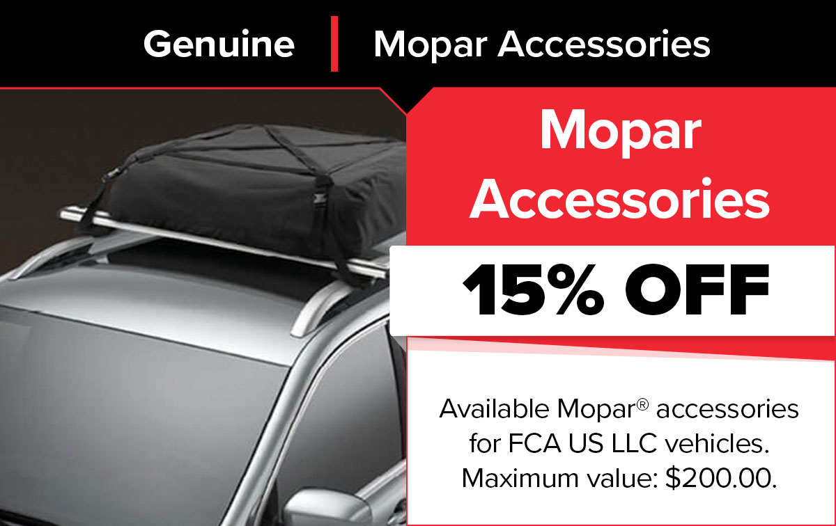 Save 15% OFF Mopar Accessories