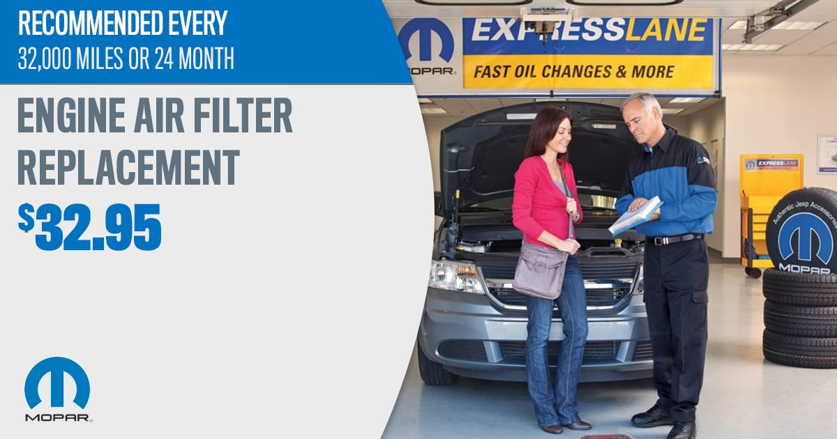 Mopar Engine Air filter Replacement Service Special Coupon