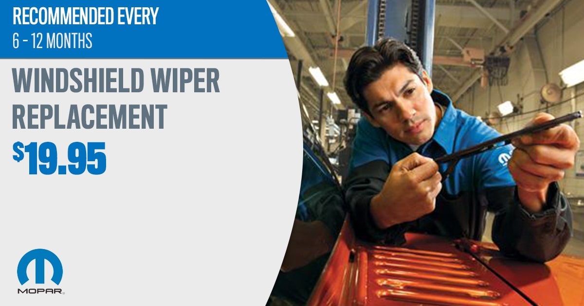 Mopar Windshield Wiper Replacement Service Special Coupon