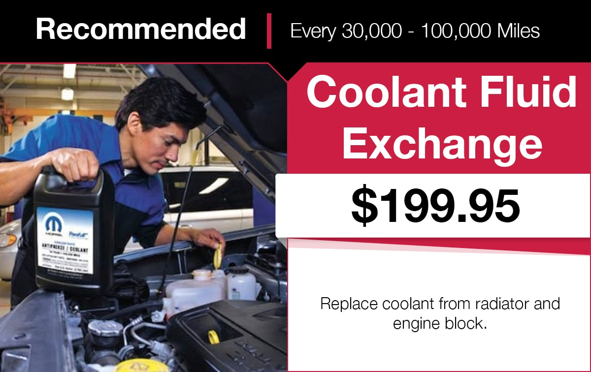 Mopar Coolant Fluid Exchange Service Special Coupon