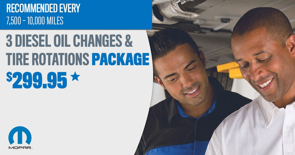 Mopar Full Synthetic Diesel Oil Change & Tire Rotation Package Service Special Coupon