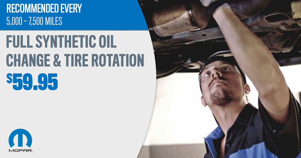 Mopar Full Synthetic Oil Change & Tire Rotation Service Special Coupon