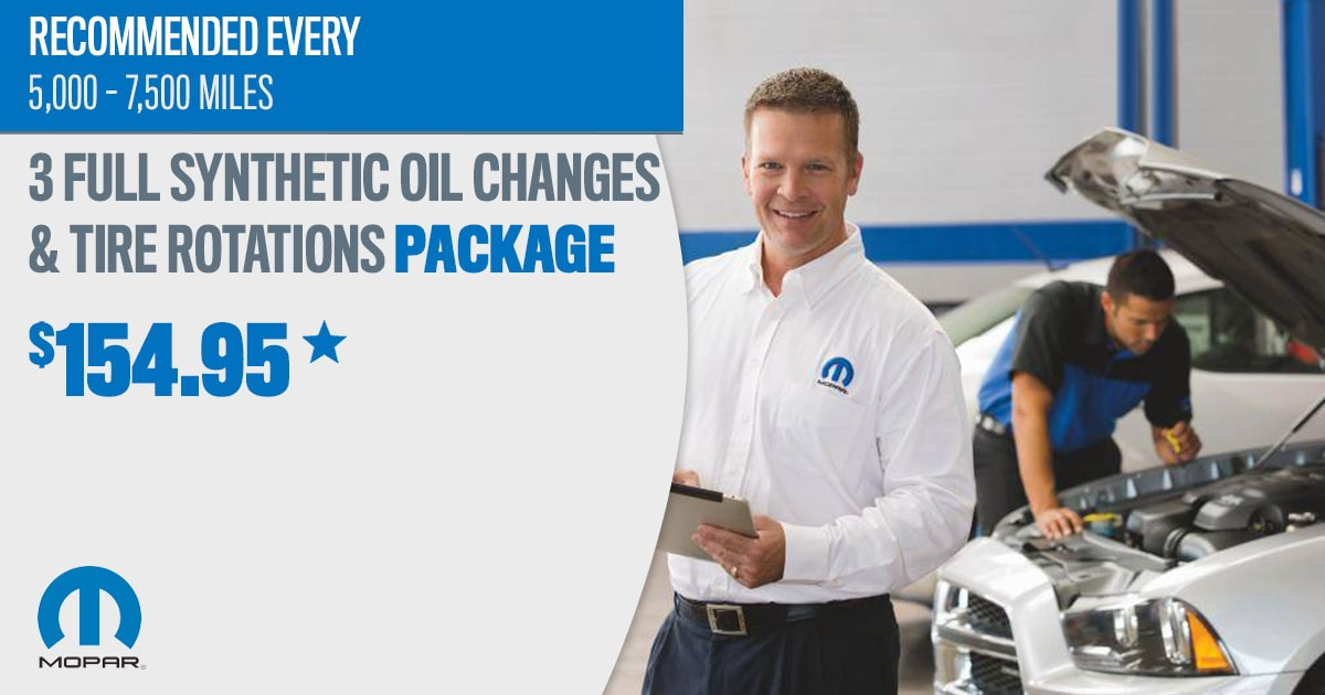 Mopar Full Synthetic Oil Change & Tire Rotation Package Service Special Coupon