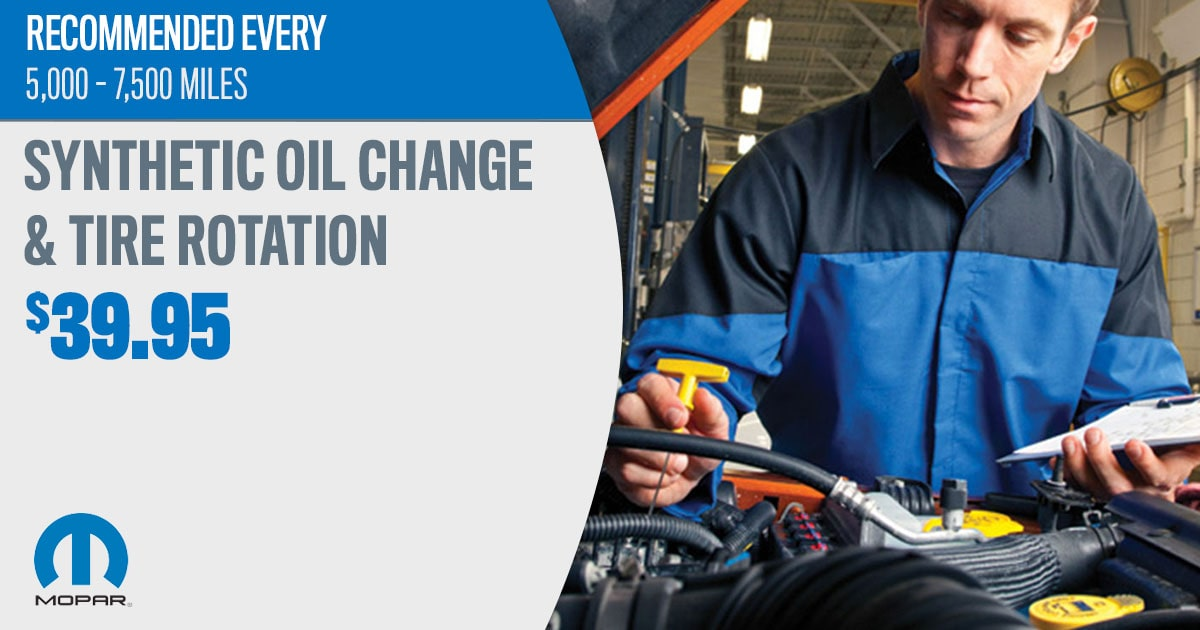 Mopar Synthetic Blend Oil Change & Tire Rotation Service Special Coupon