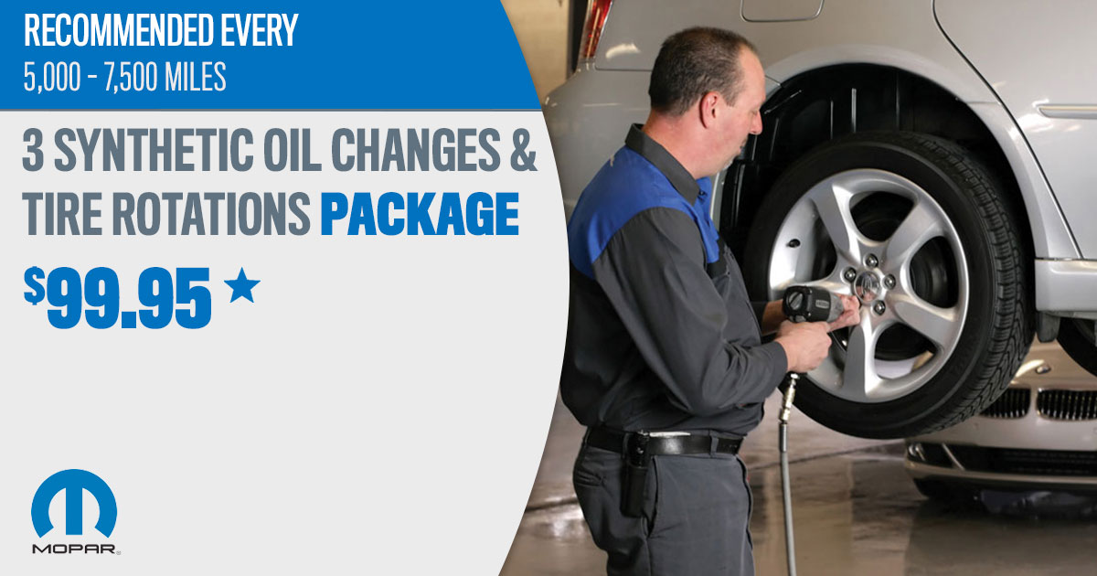 Mopar Synthetic Blend Oil Change & Tire Rotation Package Service Special Coupon