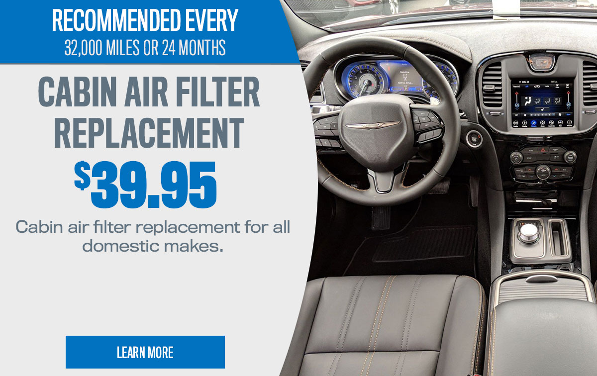 CDJR Cabin Air Filter Replacement Service Special Coupon