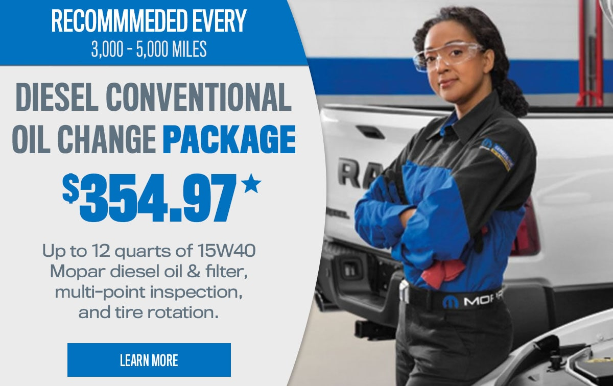 CDJR Diesel Conventional Oil Change Package Service Special Coupon