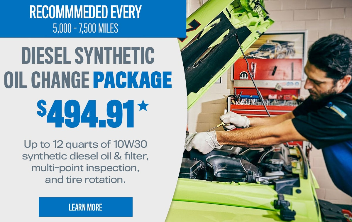 CDJR Diesel Synthetic Oil Change Package Service Special Coupon