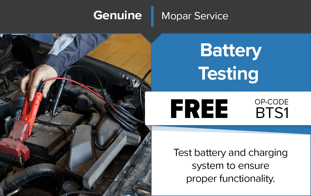 Chrysler Dodge Jeep Ram Battery Testing Service Special Coupon