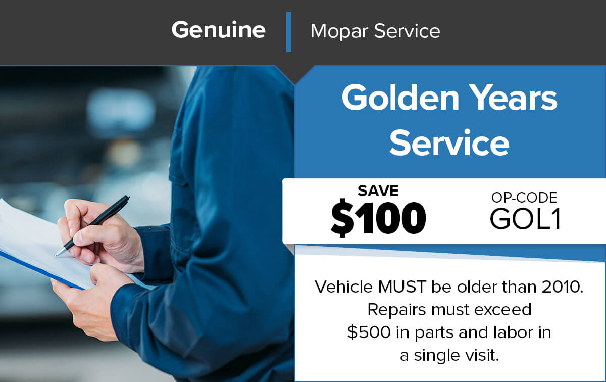 Chrysler Dodge Jeep Ram Golden Years Service Service Special Coupon