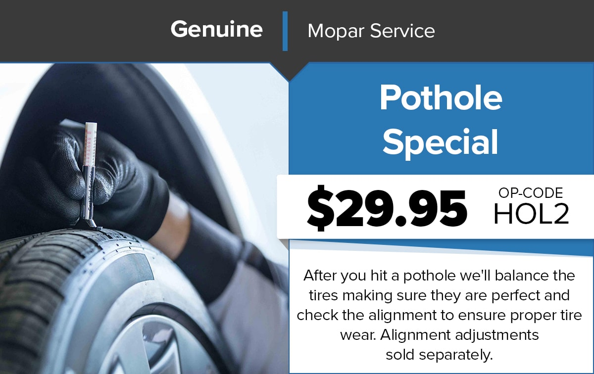 Chrysler Dodge Jeep Ram Pothole Special Service Special Coupon
