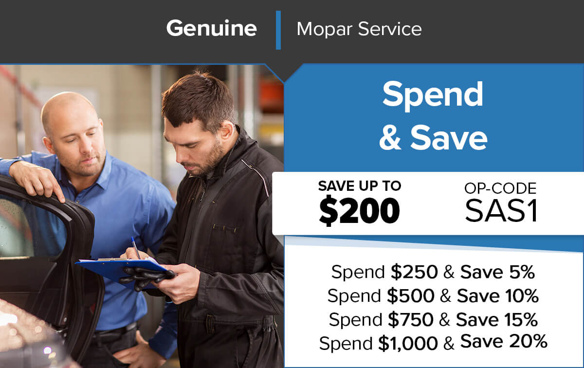 Chrysler Dodge Jeep Ram Spend & Save Service Special Coupon