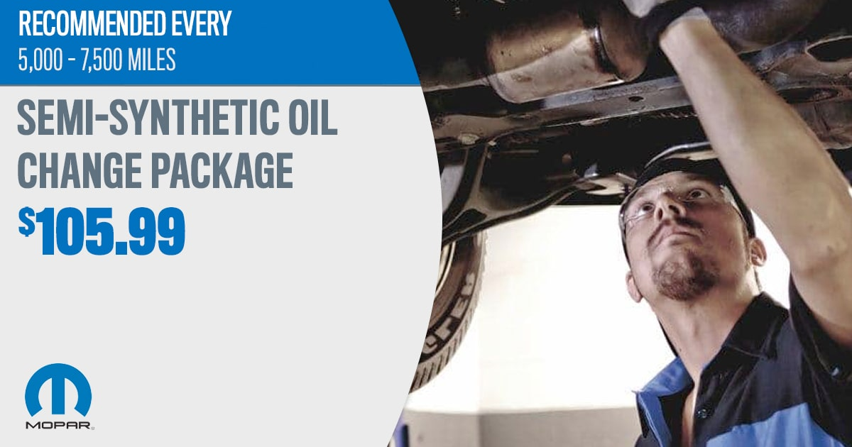 CDJR Semi-Synthetic Oil Change Package Service Special Coupon
