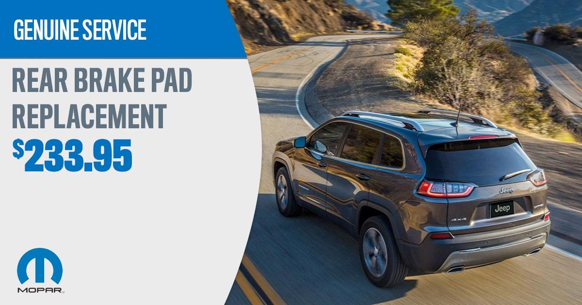CDJR Rear Brake Pad Replacement Service Special Coupon