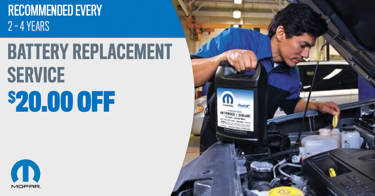 Mopar Battery Replacement Service Special Coupons