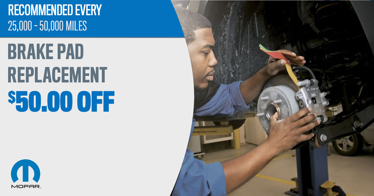 Mopar Brake Pad Replacement Service Special Coupons