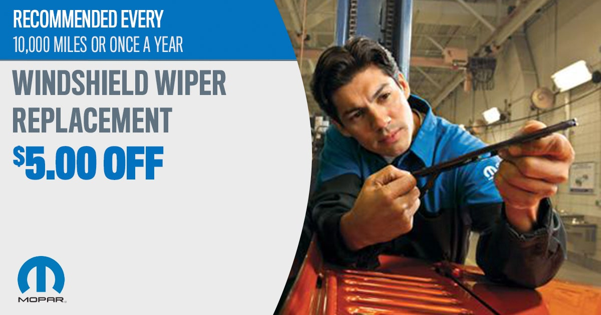 Mopar Windshield Wiper Replacement Service Special Coupons