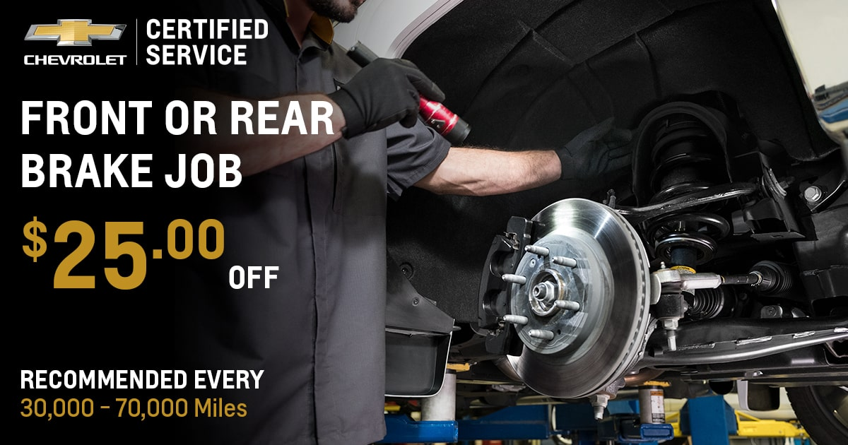 Chevrolet Front Or Rear Brake Job Service Special Coupon