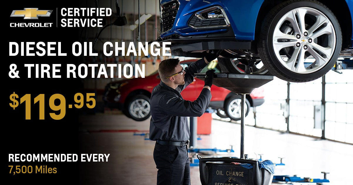 Chevrolet Diesel Oil Change & Tire Rotation Service Special Coupon