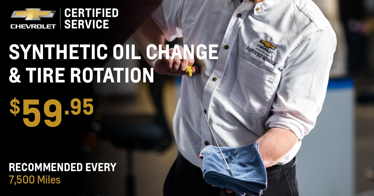 Chevrolet Synthetic Oil Change & Tire Rotation Service Special Coupon