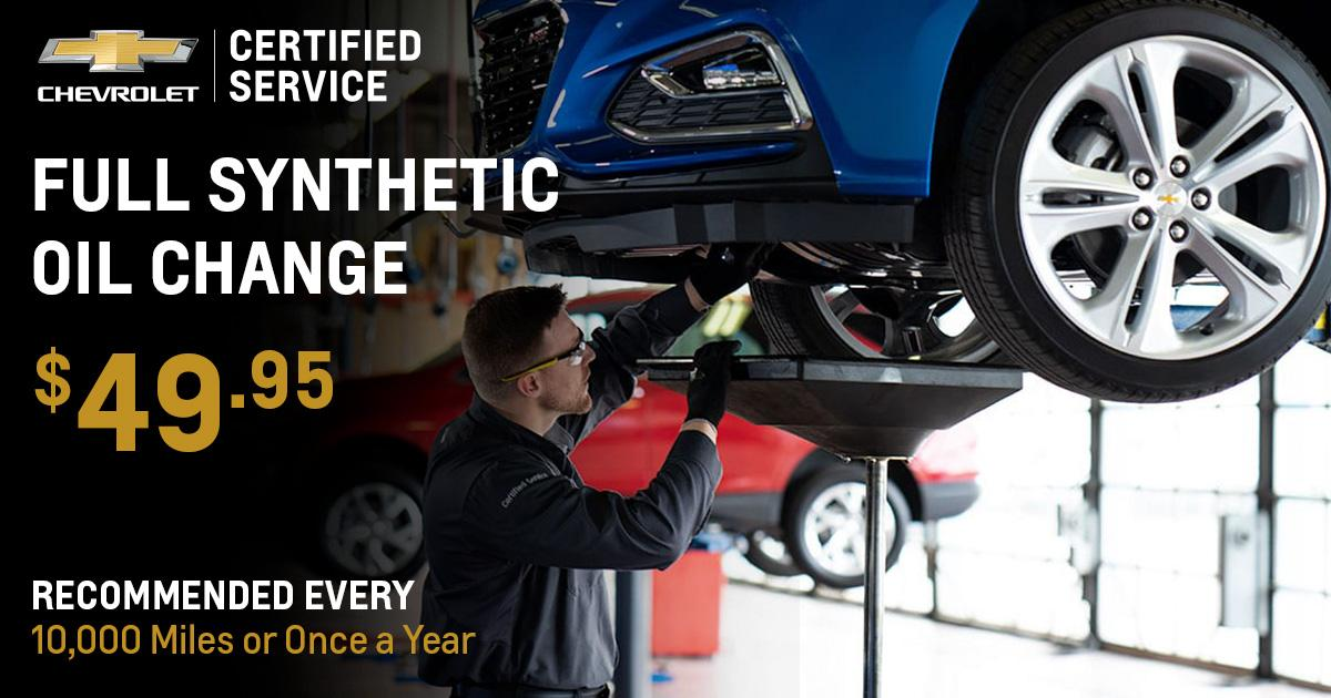 Chevrolet Synthetic Oil Change Service Special Coupon