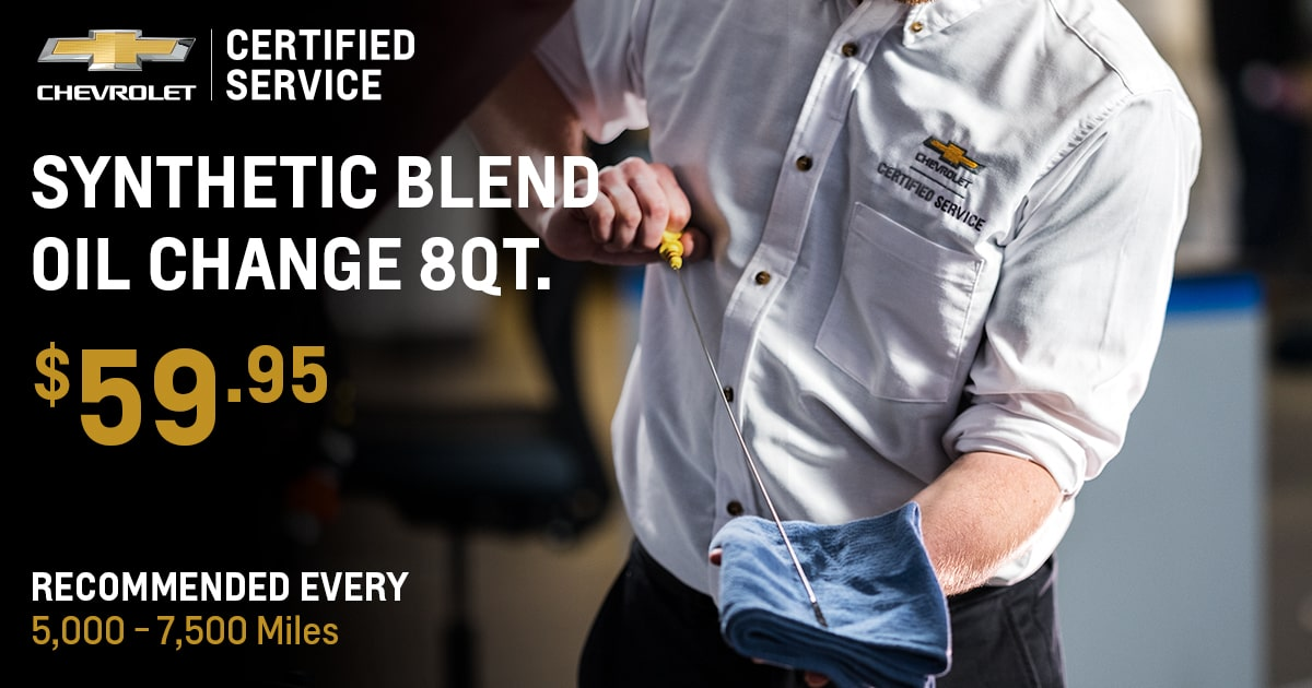 Chevrolet Synthetic Blend Oil Change 8Qt. Service Special Coupon