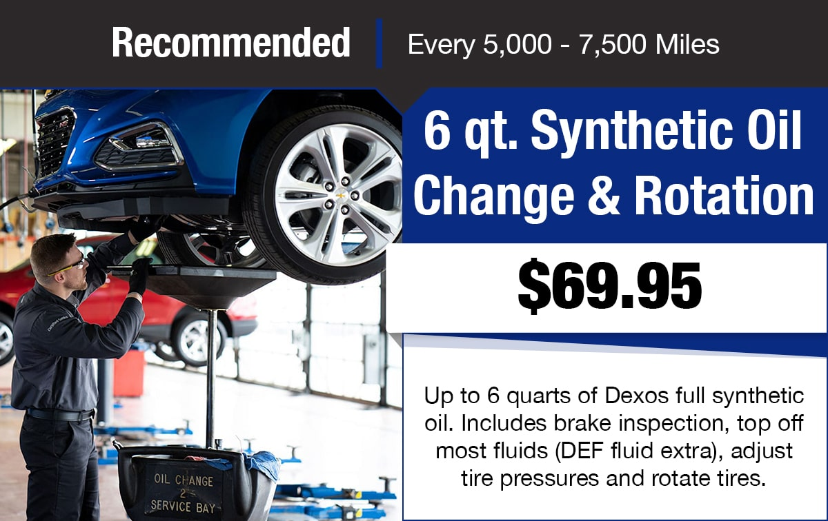 Chevrolet 6 qt. Synthetic Oil Change & Rotation Service Special Coupon