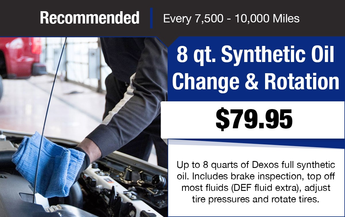 Chevrolet 8 qt. Synthetic Oil Change & Rotation Service Special Coupon