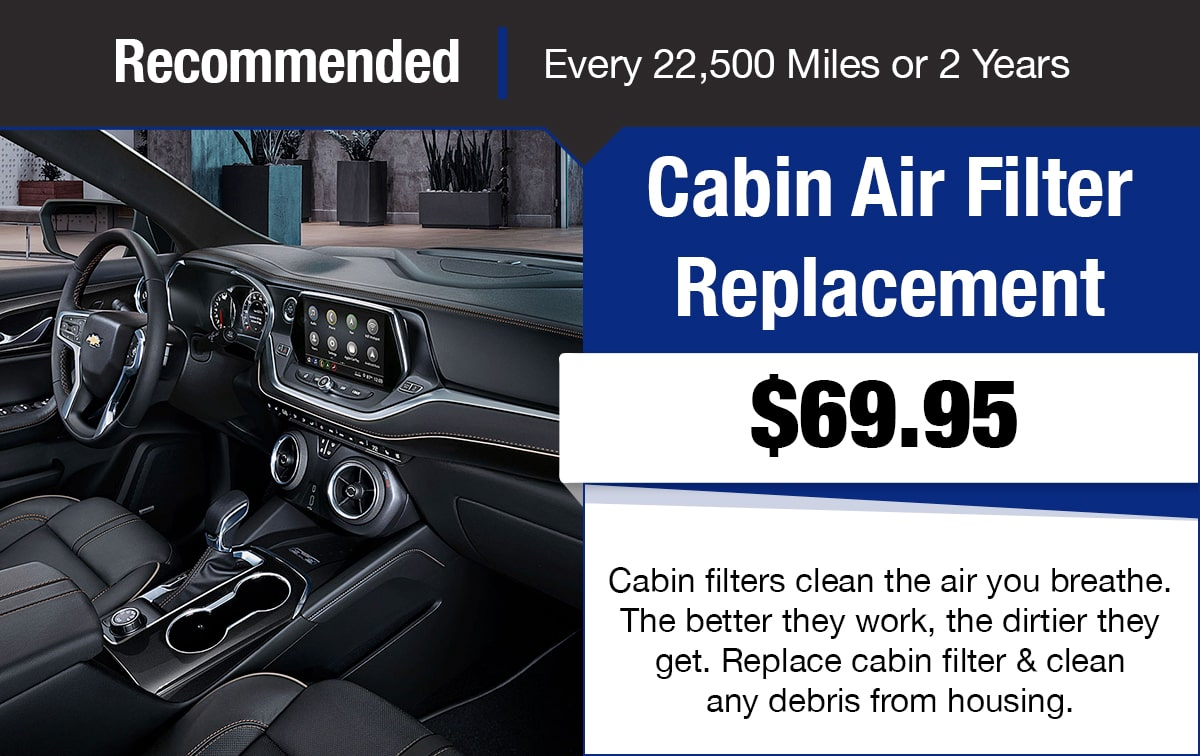 Chevrolet Cabin Air Filter Replacement Service Special Coupon