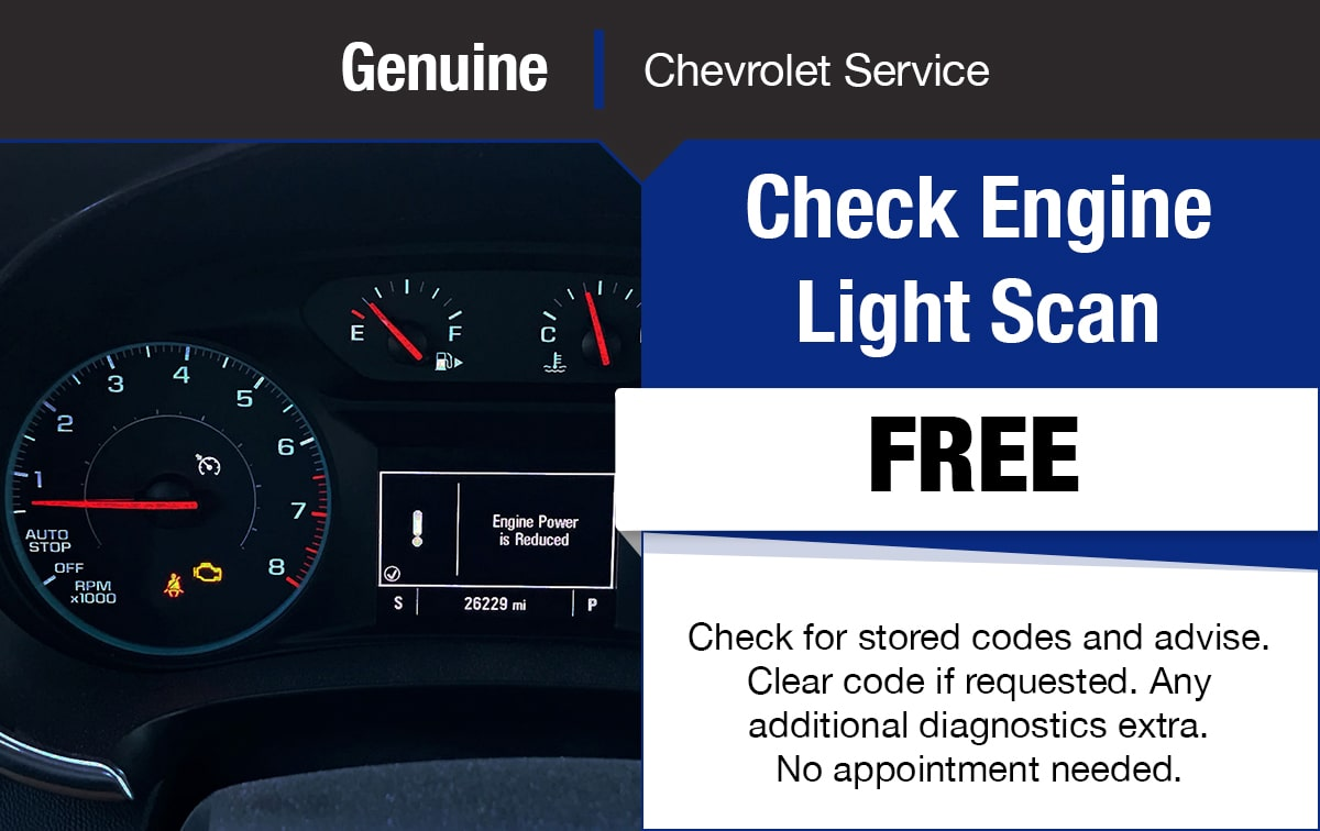 Chevrolet Check Engine Light Scan Service Special Coupon
