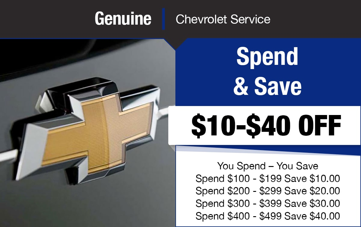 Chevrolet Spend & Save Service Special Coupon