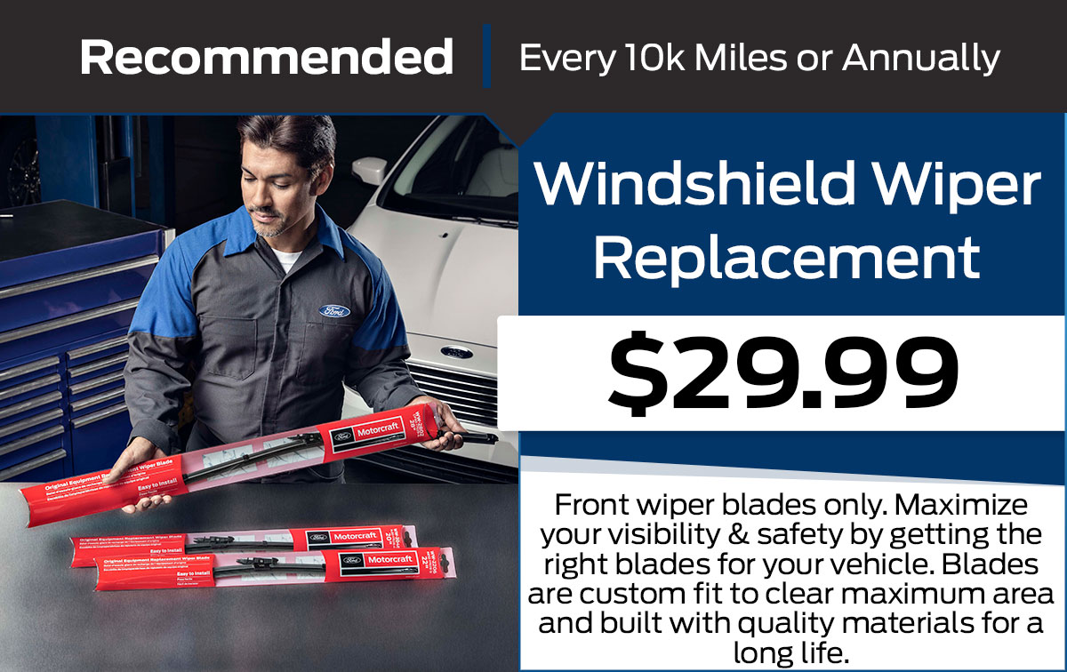 Ford Windshield Wiper Replacement Service Special Coupon