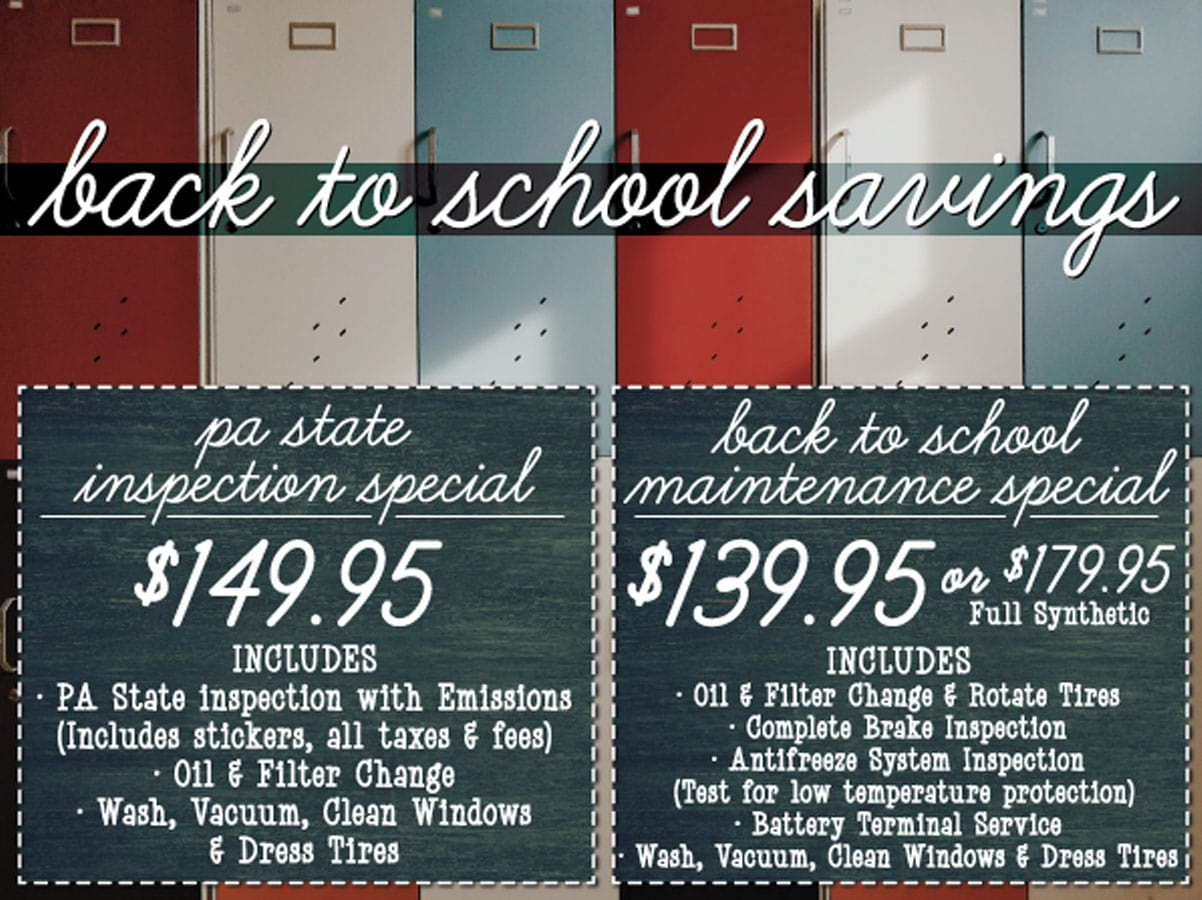 Back To School Automotive Service Offer